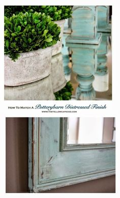 How To Match a Potterybarn Distressed Finish~DIY tutorial on painting a mirror to match PB candlesticks - Home Decorating DIY Paint Furniture, Furniture Projects, Furniture Makeover, Building Furniture, Recycled Furniture, Furniture Design, Mirror Painting, Diy Painting, Painting Tutorials