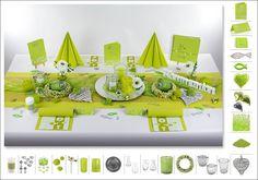 Begeistern Sie Ihre Gäste und gestalten Ihre Tischdeko vom Tischläufer bis hin zu den Servietten und Gastgeschenken im angesagten Farbton Kiwi.