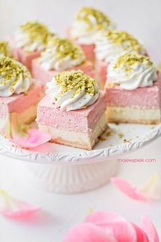 Rhubarb mousse cheesecake with pistachios. Basically all my favorite flavors combined Gourmet Cheesecake Recipe, Homemade Cheesecake, Cheesecake Desserts, Unique Desserts, Just Desserts, Delicious Desserts, Dessert Recipes, Chocolates, Sweets