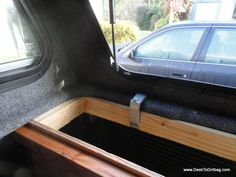 How the vertical side bins are attached to the truck--canopy clamp attached. Pickup Canopy, Truck Canopy, Canopy Tent, Window Canopy, Truck Bed Camping, Diy Camping, Camping Hacks, Camping Cabins, Backyard Canopy