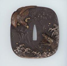 Tsuba with design of eagle and crocodile / Uchikoshi Hironaga