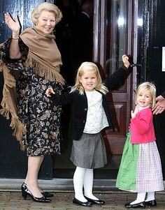 Queen Beatrix with her granddaughters, Princesses Catharina-Amalia & Alexia