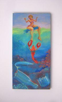 Surf Art Painting Original Surf Cartoon Whimsical Art Surfer Girl Lobster Undersea surfboard Maui Art on Etsy, $600.00
