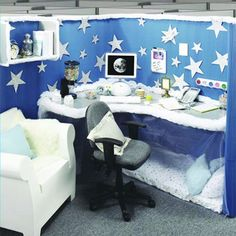 SO cute! cubicle decor But it'd be a sad day if I actually slept under my desk :-/