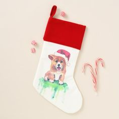 Holiday Corgi Puppy - Velvet Lined Stocking - home gifts ideas decor special unique custom individual customized individualized
