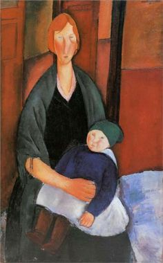 Seated Woman with Child (also known as Motherhood) Amedeo Modigliani Musee d'Art Moderne - Villenueve d'Ascq Painting - oil on canvas Amedeo Modigliani, Modigliani Paintings, Oil Paintings, Frank Stella, Georges Braque, Italian Painters, Italian Artist, Norman Rockwell, Alphonse Mucha