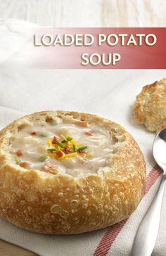 Loaded Potato Soup - This rich and hearty soup features crisp bacon, sautéed onion and garlic and tender chunks of potato simmered in a delicious, creamy sauce. It's topped with a classic trio of shredded Cheddar cheese, bacon and chives resulting in an out-of-this-world soup that everyone will love!