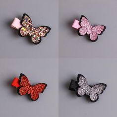 Lovely Sparkling Butterfly Shaped Girl's Hair Clip - Kokardki , Felt Hair Clips, Baby Hair Clips, Making Hair Bows, Diy Hair Bows, Baby Girl Hair Accessories, Barrettes, Hairbows, Hair Ribbons, Diy Headband