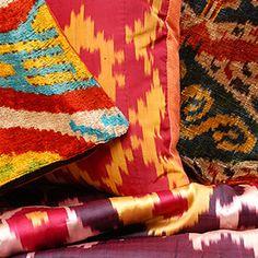 ikat fabric, throw pillow, ikat cushion, suzani, decor by DecorUZ Ikat Pillows, Velvet Pillows, Cushions, Velvet Upholstery Fabric, Ikat Fabric, Printed Silk Fabric, Gorgeous Fabrics, Handmade Pillows, Rugs