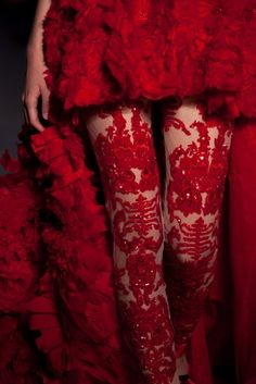 Hot red tights by Zuhair Murad Red Tights, Lace Tights, Red Leggings, Red Pantyhose, I See Red, Mode Glamour, Simply Red, Red Aesthetic, Zuhair Murad