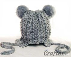 Мобильный LiveInternet Вязаная спицами детская зимняя шапка с ушками и помпонами для девочки | toma134 - Дневник toma134 |