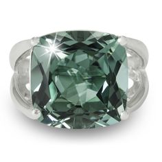 12 Carat Cushion Cut Green Amethyst Ring In Sterling Silver (Size 7.5), Women's (solid)