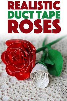 """These duct tape roses will """"wow"""" your recipient! See how you can make these real. These duct tape roses will """"wow"""" your recipient! See how you can make these realistic roses using duct tape and some pipe cleaners. Duct Tape Rose, Duct Tape Flowers, Fun Crafts, Crafts For Kids, Amazing Crafts, Simple Crafts, Adult Crafts, Birthday Gifts For Teens, Teen Birthday"""