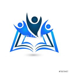 Vector: Teamwork educational book symbol logo