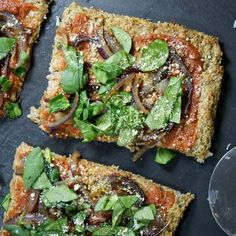 Vegan Cauliflower Pizza Crust. A grain-free way to enjoy pizza night, without the need for eggs or dairy!