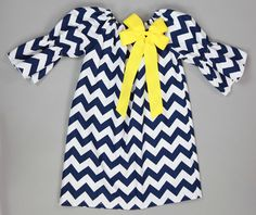 Southern Tots Navy Chevron Peasant Dress with Yellow Bow-I think baby girl needs this dress for squadron functions ;)