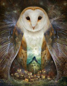 Lisa Falzon (meluseena on deviantART) | Owl, Mountain, Moon