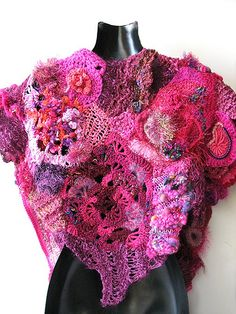 Pink Project Auction, organized by Prudence Mapstone. Vivid dark pinks here combined in a shawl.