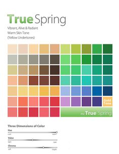Colors for a True Spring Women. Totally confused about bright spring, true spring etc. Need to learn more about how these interact with the DYT types. Bright Spring, Clear Spring, Warm Spring, Soft Summer, Spring Color Palette, Spring Colors, Light Spring Palette, Color Type, Type 1