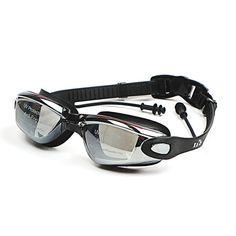전문 실리콘 방수 수영 고글 안티-안개 UV 수영 안경 귀마개 남성 여성 물 스포츠 안경