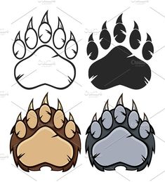 Bear Paw Logo Collection by HitToon on Bear Paw Tattoos, Bear Paw Print, Native Tattoos, Pumpkin Stencil, Bear Claws, Bear Logo, Bear Art, Graphic Illustration, Logo Design