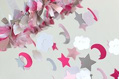 cool Star, Moon & Cloud Nursery Mobile in Hot Pink, Light Pink, Gray & White