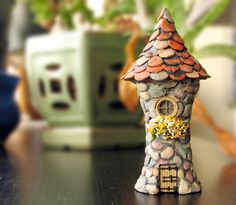 Miniature Enchanted Fairy Garden Tower w/ Winged Finial Enchanted Round Fairy Folly with Flower Box Moss and Tile Roof Terrarium Decor Fairy Garden Houses, Garden Art, Fairy Gardens, Fairy Land, Fairy Tales, Biscuit, Clay Fairies, Fairy Doors, Flower Boxes