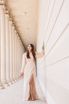 Alyssa Nicole Blush Silk Gown and Freda Salvador Heels at Legion of Honor San Francisco
