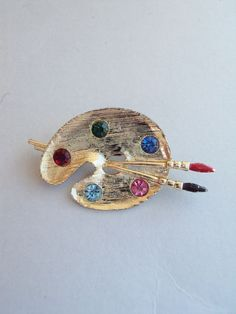 Vtg Artist Palette Colorful Rhinestone Paint Enamel Brushes Gold Tone Brooch Pin #Unbranded