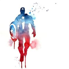 Blule - Watercolour painting of Captain America Superhero, Avengers. Marvel Comics, Marvel Art, Marvel Heroes, Captain America Poster, Captain America Art, Captain America Painting, Captain America Tattoo, Captain America Drawing, Avengers Team