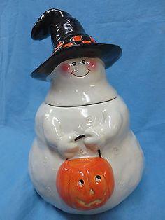 """""""halloween cookie jar"""" in All Categories Ghost Cookies, Biscuit Cookies, Pumpkin Cookies, Cute Cookies, Halloween Cans, Halloween Ideas, Happy Halloween, Halloween Decorations, Christmas Cookie Jars"""
