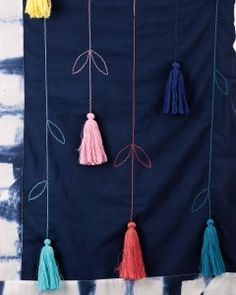 Ka-Sha Blue Scarf with Embroidered Tassels Embroidery On Kurtis, Embroidery Fashion, Embroidery Dress, Flower Embroidery Designs, Hand Embroidery Stitches, Embroidery Patterns, Kurti Patterns, Dress Patterns, Kurta Designs Women