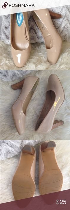 ✨Posh Nude Pumps w/ Stacked Heel✨ Adore these shoes. So girly and preppy. A must have staple for any closet. Beautiful used condition. Some scuff marks (see pics). Size 7m Fitzwell Shoes Heels