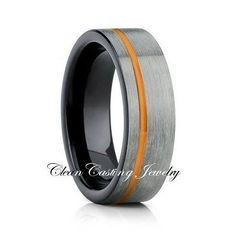 Brushed Tungsten,Orange Groove,Comfort Fit,Black Ring