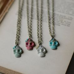 Day of the Dead Skull Charm Necklace by gleefulpeacock on Etsy, $20.00