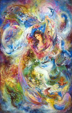 Есть в одних садах тюльпаны, розы, лилии — в других, Ты — цветник, в котором блещут все цветы земных широт. Ярче розы твой румянец, шея — лилии белей, Зубы — жемчуг многоценный, два рубина — алый рот. Вот из жилы меднорудной вдруг расцвел тюльпан багряный, На багрянце тоном смуглым медный проступил налет. Вьется кругом безупречным мускус локонов твоих, В центре — киноварью губы, точно ярко-красный плод.