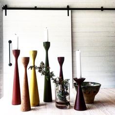 Rolf™, Inga™ and Ester™ Candleholders by FREEMOVER since 2004. 50 colours, 7 sizes, 3 versions. Eco-friendly lacquered, FSC certified beech, raw oak and teak wood. Scandinavian design by Maria Lovisa Dahlberg.
