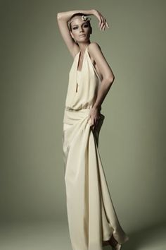 1920s style dark ivory crepe de chine dress with panelled plunge neckline