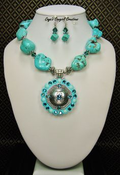 Howlite Turquoise Cowgirl Western Necklace Set / Western Jewelry / Howlite Turquoise Statement Jewelry / Bold Chunky - SWeeT CaRMeN by CayaCowgirlCreations on Etsy