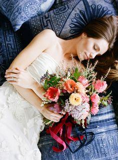 pink, orange and yellow dreamy natural wedding bouquet | floral design: floret | photo: jose villa