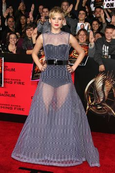 Jennifer Lawrence- LOVE her new haircut and this dress! She can do anything.