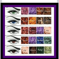Chart of Eye Colors and what Younique Pigment Shade http://www.youniqueproducts.com/vancouver