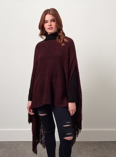 Burgundy Knitted Poncho Knitted Poncho, Miss Selfridge, Asos, Burgundy, Normcore, Shopping, Collection, Style, Fashion