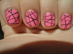 Pink nail polish with black accents- I'm sure this is actually pretty easy to do!