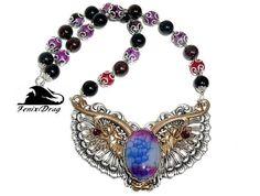 Women's choker necklace Wolves / Wolf purple
