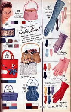 A lovely array of handbags and gloves from a 1955 Aldens catalog