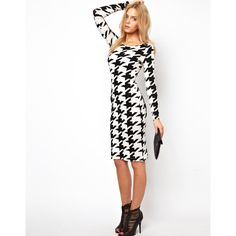 Lavish Alice Midi Dress In Houndstooth Print (105 BRL) ❤ liked on Polyvore featuring dresses, multi, print dress, long sleeve pencil dress, long sleeve body con dress, print bodycon dress and mesh bodycon dress