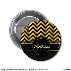 Girly Black Gold Chevron Pattern Monogram 2 Inch Round Button