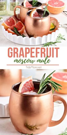 This Grapefruit Moscow Mule is just the right balance of spicy freshness that is the ginger beer and fresh grapefruit combo. Making this cocktail wonderfully refreshing. Perfect for sipping on the deck with friends, at a bridal shower or holiday gathering Spring Cocktails, Refreshing Cocktails, Yummy Drinks, Vodka Cocktails, Tequila Sangria, Martinis, Bar Drinks, Beverages, Pina Colada