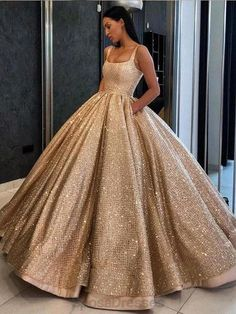Gold Wedding Gowns, Sequin Prom Dresses, Cute Prom Dresses, Elegant Dresses, Pretty Dresses, Sweet 16 Dresses Gold, Formal Dresses, Sweet Dress, Princess Prom Dresses